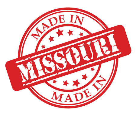 Made in Missouri red rubber stamp illustration vector on white background Illustration