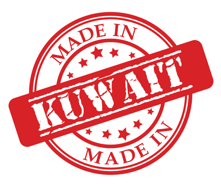 Made in Kuwait red rubber stamp illustration vector on white background