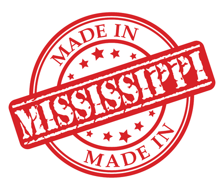 Made in Mississippi red rubber stamp illustration vector on white background