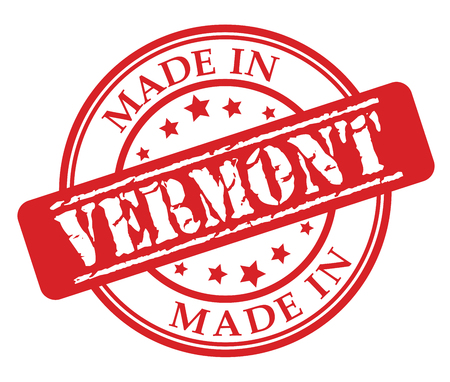 Made in Vermont red rubber stamp illustration vector on white background