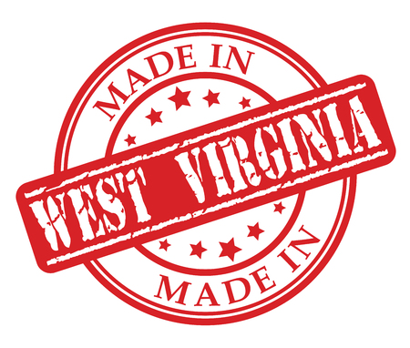 Made in West Virginia red rubber stamp illustration vector on white background Illustration