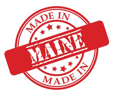 Made in Maine red rubber stamp illustration vector on white background  イラスト・ベクター素材