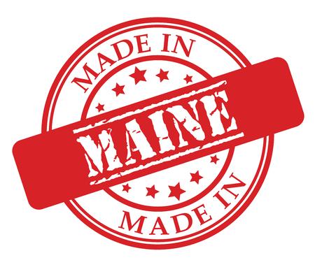 Made in Maine red rubber stamp illustration vector on white background Ilustração