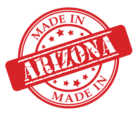 Made in Arizona red rubber stamp illustration vector on white background