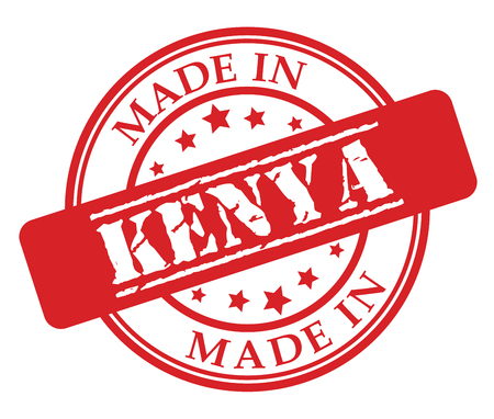 Made in Kenya red rubber stamp illustration vector on white background