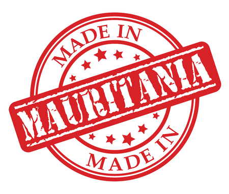 Made in Mauritania red rubber stamp illustration vector on white background