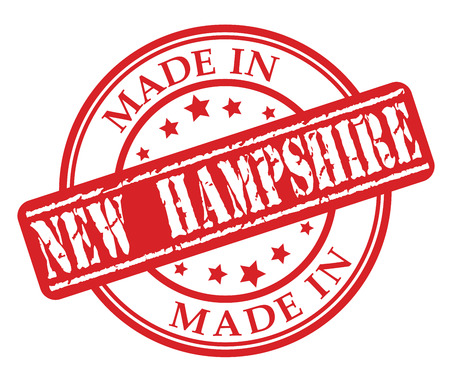 Made in New Hampshire red rubber stamp illustration vector on white background Illustration