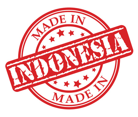 Made in Indonesia red rubber stamp illustration vector on white background Ilustrace