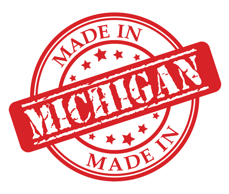 Made in Michigan red rubber stamp illustration vector on white background