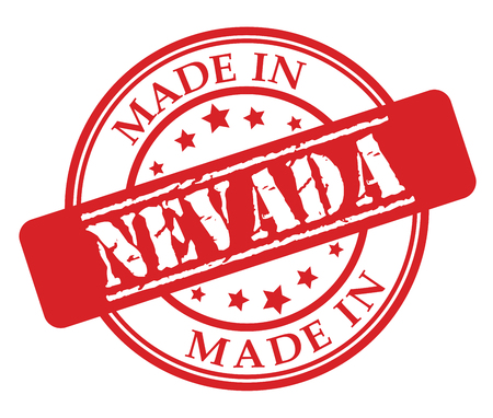 Made in Nevada red rubber stamp illustration vector on white background