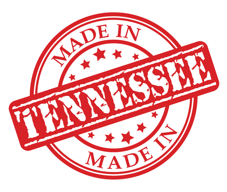 Made in Tennessee red rubber stamp illustration vector on white background