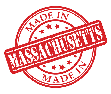 Made in Massachusetts red rubber stamp illustration vector on white background  イラスト・ベクター素材
