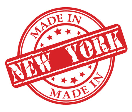 Made in New York red rubber stamp illustration vector on white background