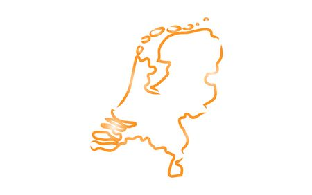 Stylized sketch map of Netherlands Stock Illustratie