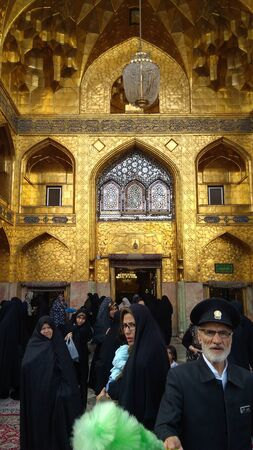 Mashhad, Iran, may 13, 2018: Haram complex and the Imam Reza Shrine, the largest mosque in the world by dimension in the holiest city in Iran - Mashhad.