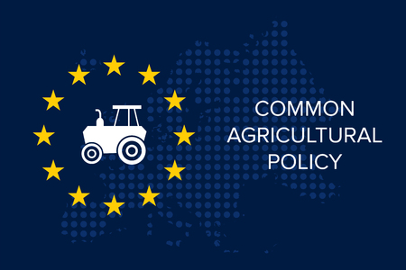 Common agricultural policy on EU flag