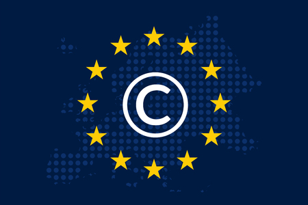 Copyright in the Digital Single Market concept on European Union flag