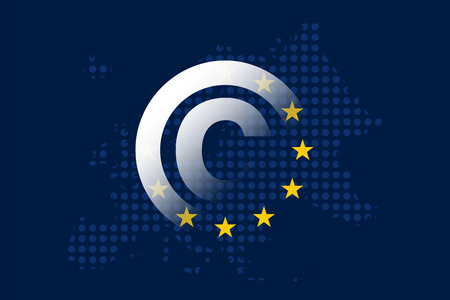 Copyright en el concepto de mercado único digital en la bandera de la Unión Europea Ilustración de vector