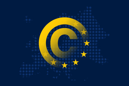 Copyright in the Digital Single Market concept on European Union flag Stock Vector - 104666282