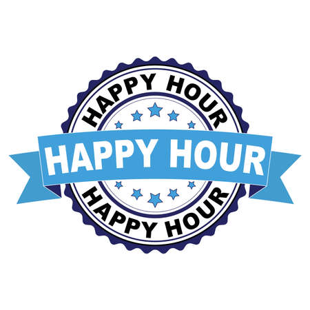 Blue black rubber stamp with Happy hour concept Иллюстрация