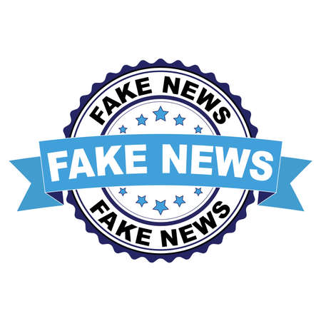 Blue black rubber stamp with Fake news concept