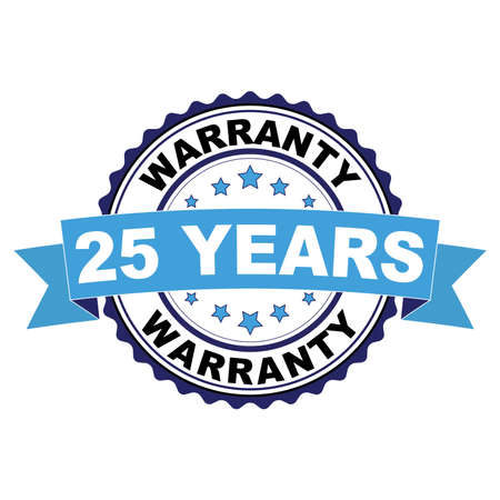 Blue black rubber stamp with 25 year warranty concept Vettoriali