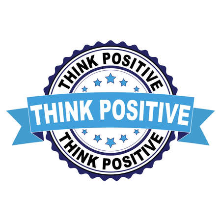Blue black rubber stamp with Think positive concept Ilustrace