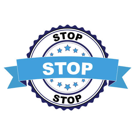 Blue black rubber stamp with Stop concept