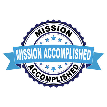 Blue black rubber stamp with Mission accomplished concept