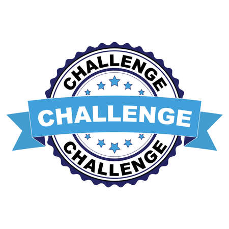 Blue black rubber stamp with Challenge concept