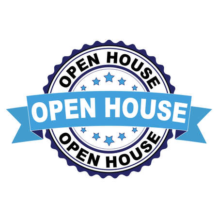 Blue black rubber stamp with Open house concept