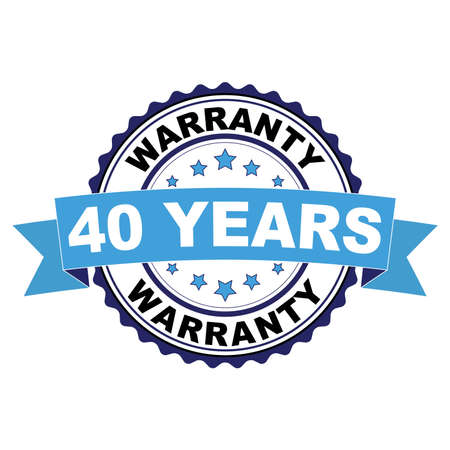 Blue black rubber stamp with 40 years warranty concept