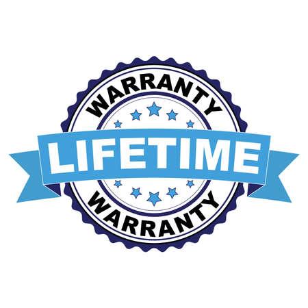 Blue black rubber stamp with Lifetime warranty concept Illustration