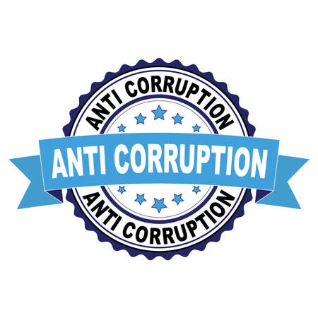 Blue black rubber stamp with Anti corruption concept