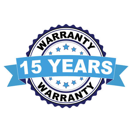 Blue black rubber stamp with 15 years warranty concept