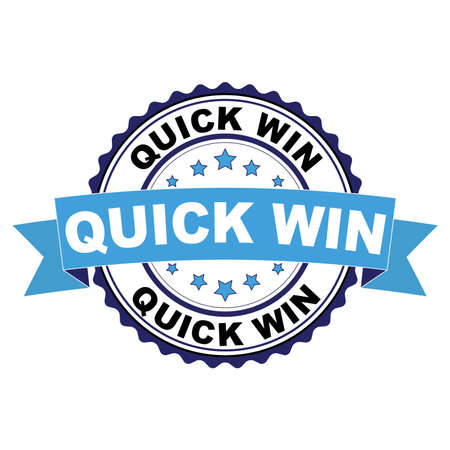 Blue black rubber stamp with Quick win concept