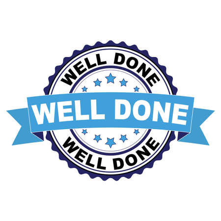 Blue black rubber stamp with Well done concept