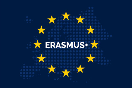 Erasmus on European union map with europe dots shaped map Иллюстрация