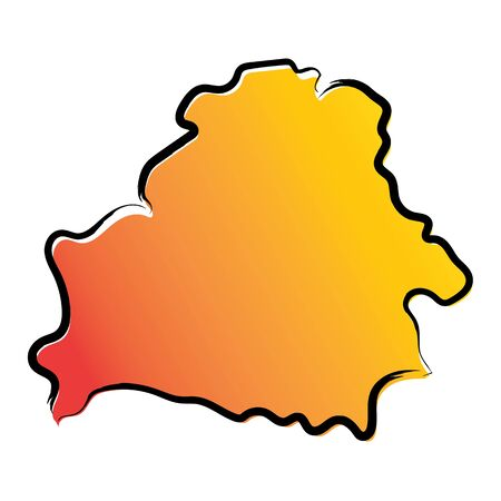 Stylized yellow red gradient sketch map of Belarus Ilustrace