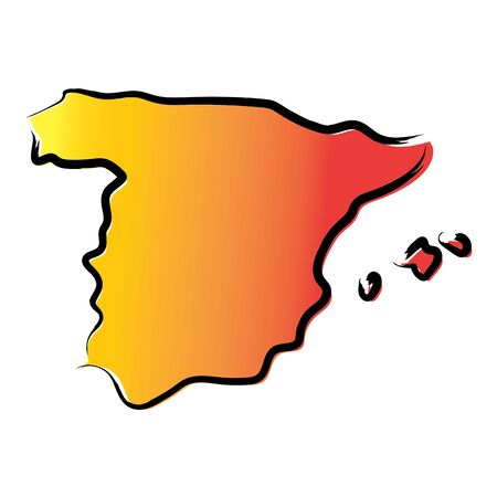 Stylized yellow red gradient sketch map of Spain