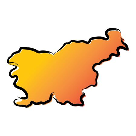 Stylized yellow red gradient sketch map of Slovenia