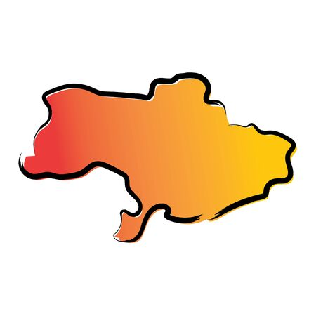 Stylized yellow red gradient sketch map of Ukraine without Crimea Ilustrace