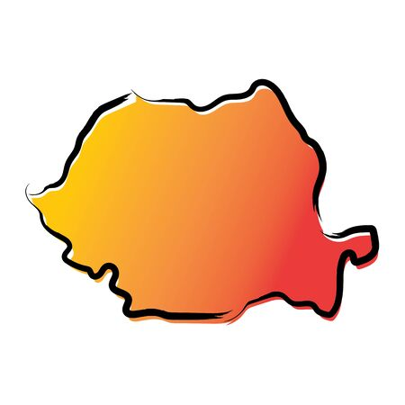 Stylized yellow red gradient sketch map of Romania