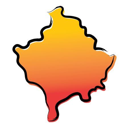 Stylized yellow red gradient sketch map of Kosovo