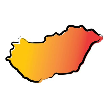 Stylized yellow red gradient sketch map of Hungary