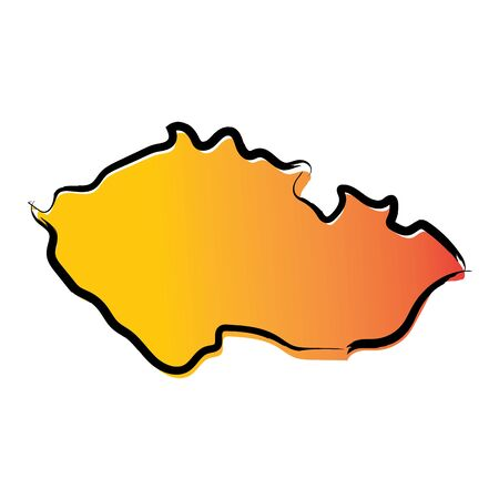 Stylized yellow red gradient sketch map of Czechia Ilustrace