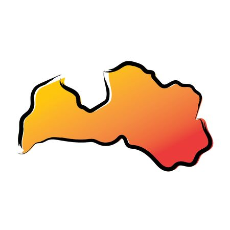 Stylized yellow red gradient sketch map of Latvia