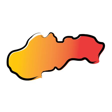 Stylized yellow red gradient sketch map of Slovakia Ilustrace