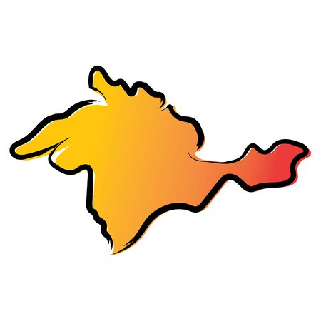Stylized yellow red gradient sketch map of Crimea