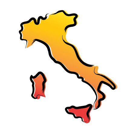 Stylized yellow red gradient sketch map of Italy